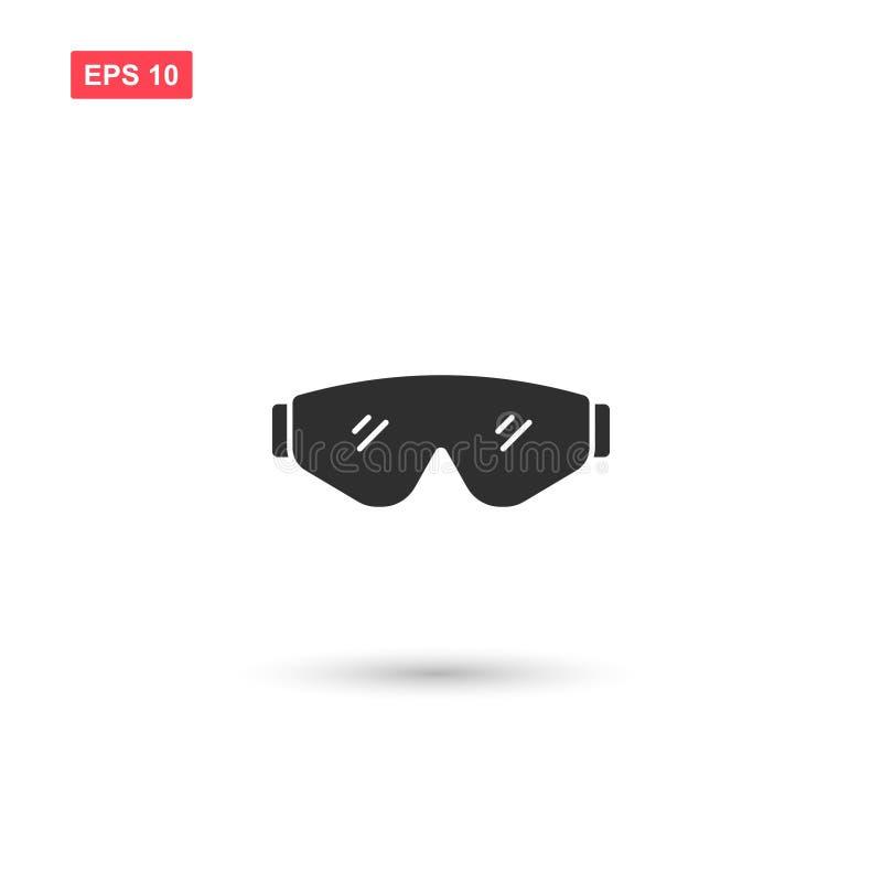 La progettazione di vettore dell'icona degli occhiali di protezione ha isolato 5 illustrazione di stock