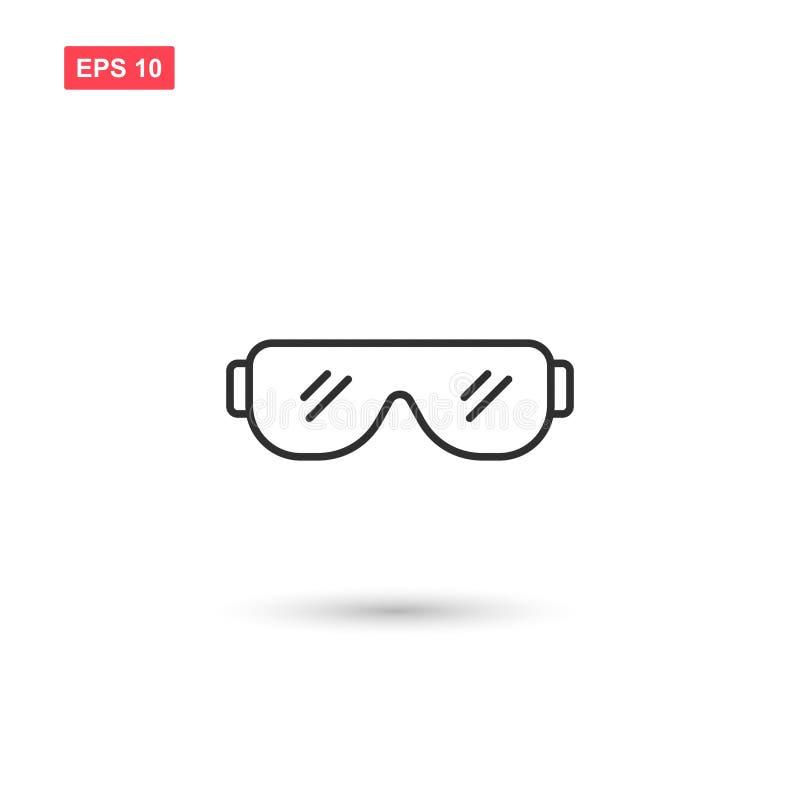 La progettazione di vettore dell'icona degli occhiali di protezione ha isolato royalty illustrazione gratis