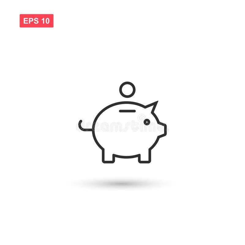 La progettazione di vettore dell'icona del porcellino salvadanaio ha isolato illustrazione vettoriale