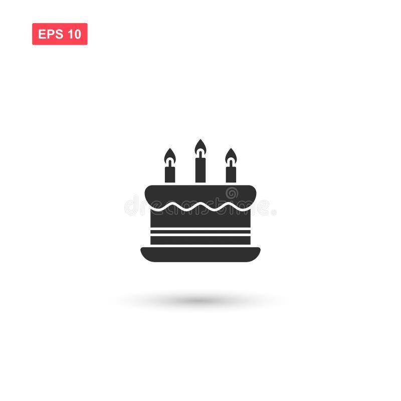 La progettazione di vettore dell'icona della torta di compleanno ha isolato 3 illustrazione vettoriale