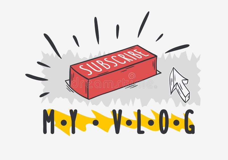 La progettazione disegnata a mano di stile del fumetto di video media sociali del blog di Vlog sottoscrive il bottone e una chiam illustrazione vettoriale