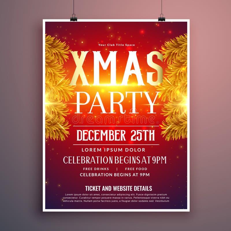 La progettazione elegante dell'aletta di filatoio della festa di Natale con abete dorato va royalty illustrazione gratis