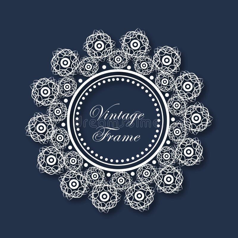 La progettazione floreale ha decorato la bella struttura d'annata illustrazione vettoriale