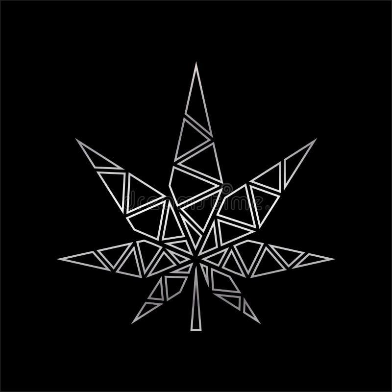 La progettazione geometrica di vettore di marijuana va, profilo di forma di foglia semplice illustrazione vettoriale