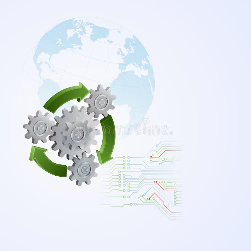 La progettazione grafica astratta con le ruote dentate ed il verde, ricicla le frecce illustrazione vettoriale