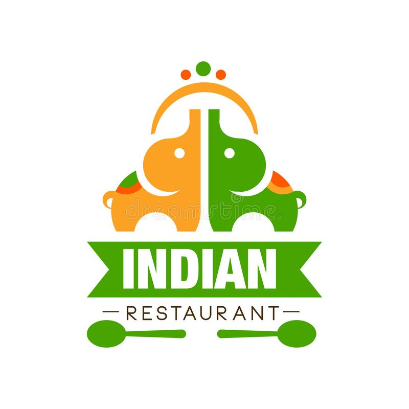La progettazione indiana di logo del ristorante, etichetta continentale tradizionale autentica dell'alimento può essere usata per royalty illustrazione gratis