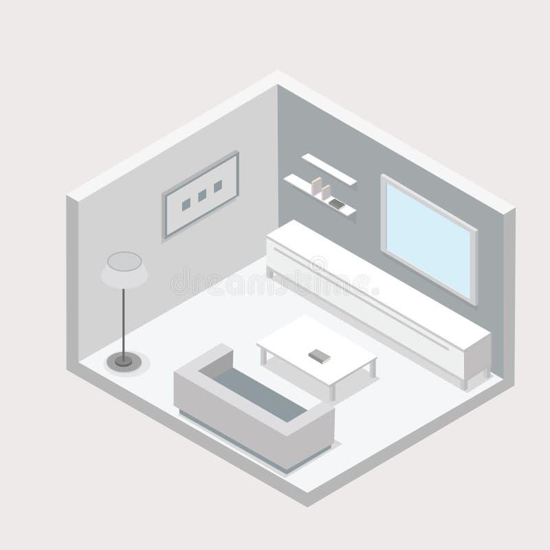 La progettazione isometrica del salone con una sedia di tavola e la TV vector l'illustrazione Nei colori luminosi fotografia stock