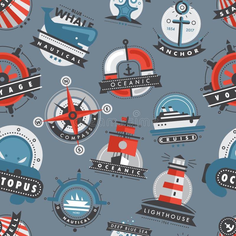 La progettazione marina dell'ancora dei distintivi di logo del mare dei modelli nautici simbolizza il fondo senza cuciture del mo royalty illustrazione gratis