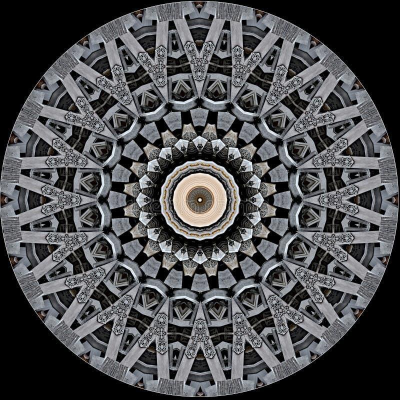 La progettazione misteriosamente digitale di arte dell'ornamentale a filigrana ha scolpito il legno royalty illustrazione gratis
