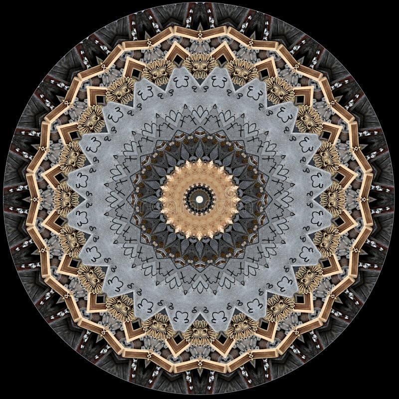 La progettazione misteriosamente digitale di arte dell'ornamentale a filigrana ha scolpito il legno illustrazione vettoriale