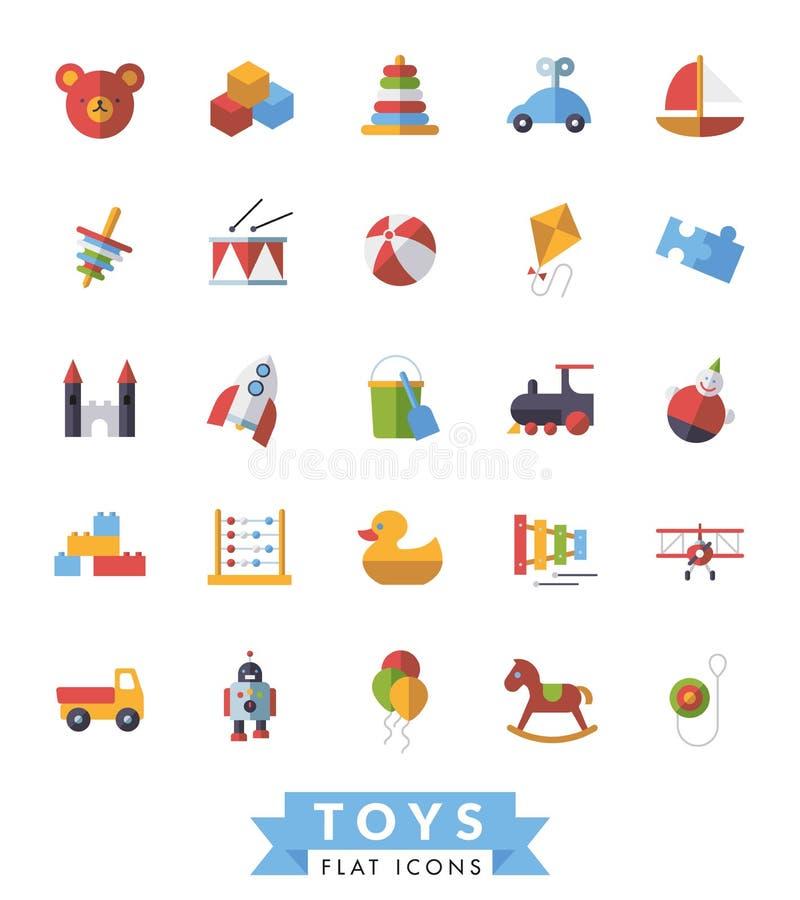 La progettazione piana dei giocattoli dei bambini ha isolato l'insieme di vettore delle icone royalty illustrazione gratis