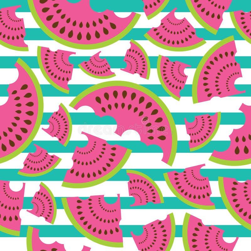 La progettazione senza cuciture di vettore del modello delle angurie su fondo a strisce per tessuto copre il fondo illustrazione di stock