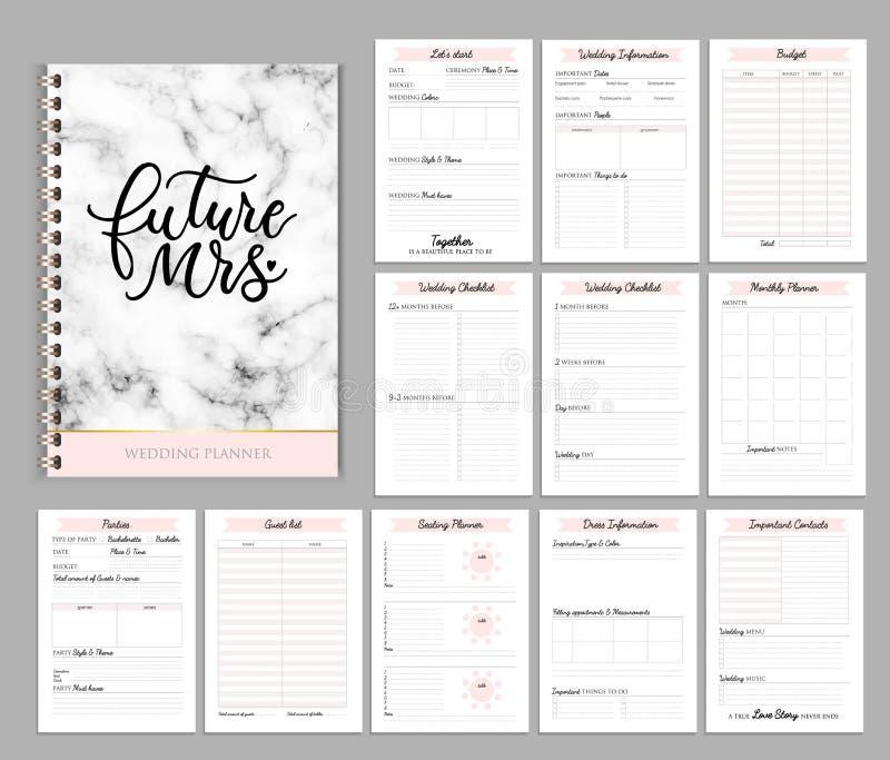 La progettazione stampabile con le liste di controllo, data importante del pianificatore di nozze, nota ecc illustrazione vettoriale