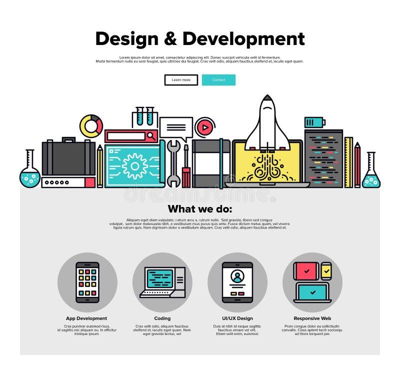 La progettazione sviluppa la linea piana grafici di web royalty illustrazione gratis