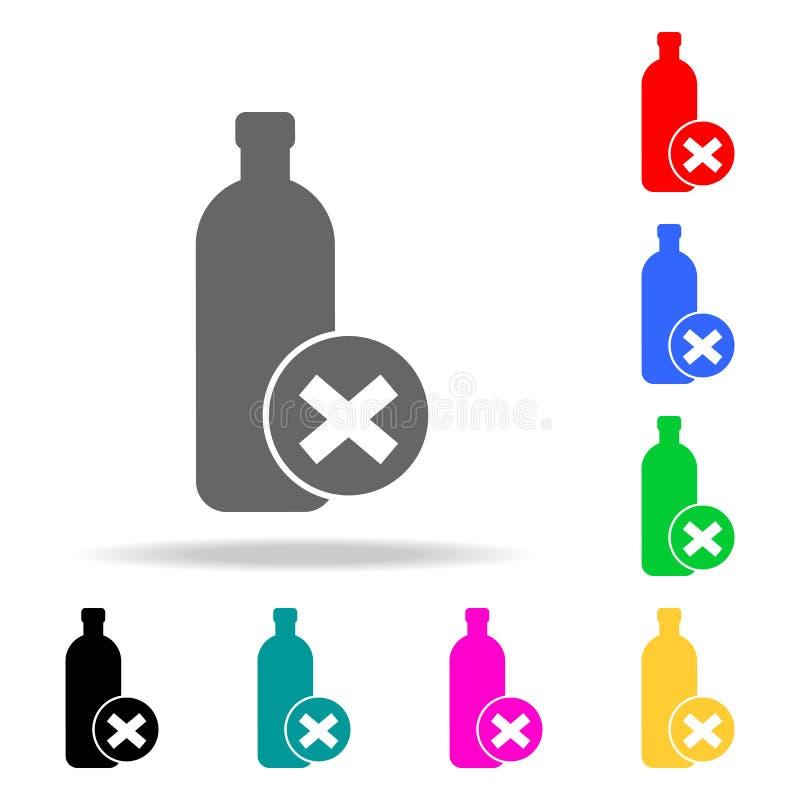 la prohibición en el transporte del icono de las botellas Elementos de los iconos coloreados multi del aeropuerto Ico superior de stock de ilustración