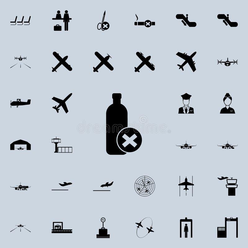 la prohibición en el transporte del icono de las botellas Sistema universal de los iconos del aeropuerto para el web y el móvil libre illustration