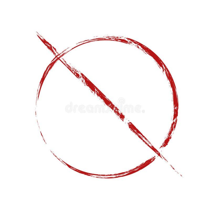 La prohibición roja firma adentro estilo del grunge Prohibición en cosas Objeto rasguñado aparte del fondo libre illustration