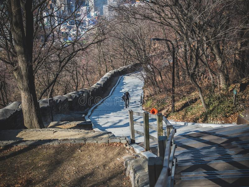 La promenade allant jusqu'au dessus de la tour de Namsan photos stock