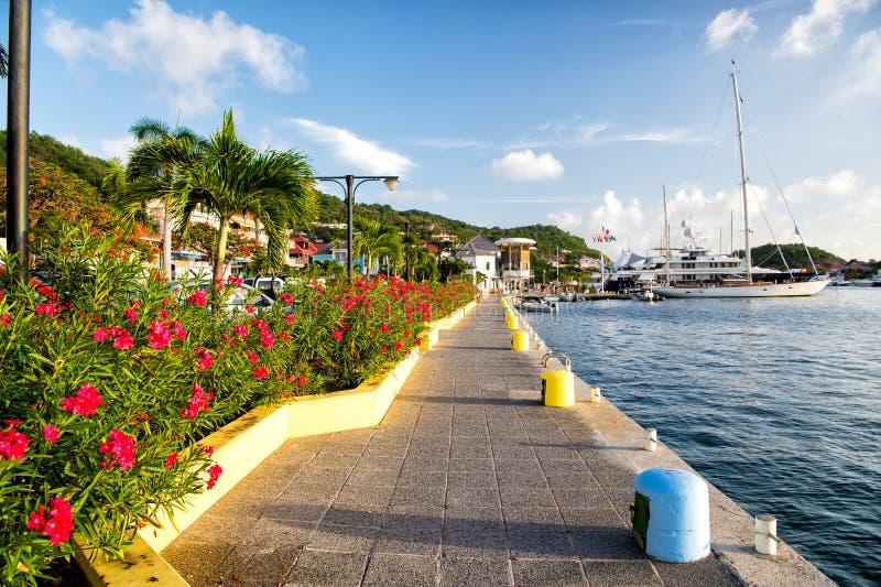 La promenade de côté de mer avec des paumes et la floraison fleurit dans les Frances image libre de droits