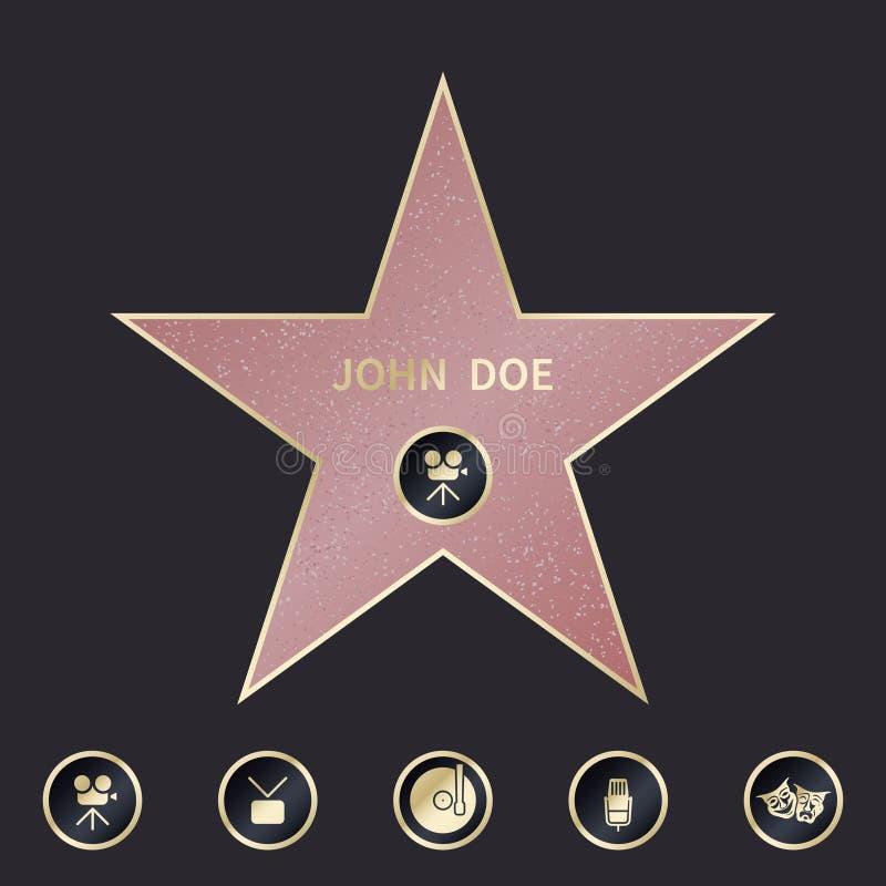 La promenade de l'étoile de renommée avec des emblèmes symbolisent cinq catégories Ensemble de vecteur illustration de vecteur