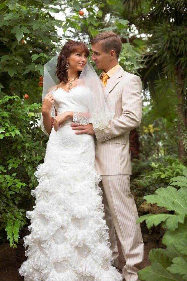 La promenade des nouveaux mariés image libre de droits