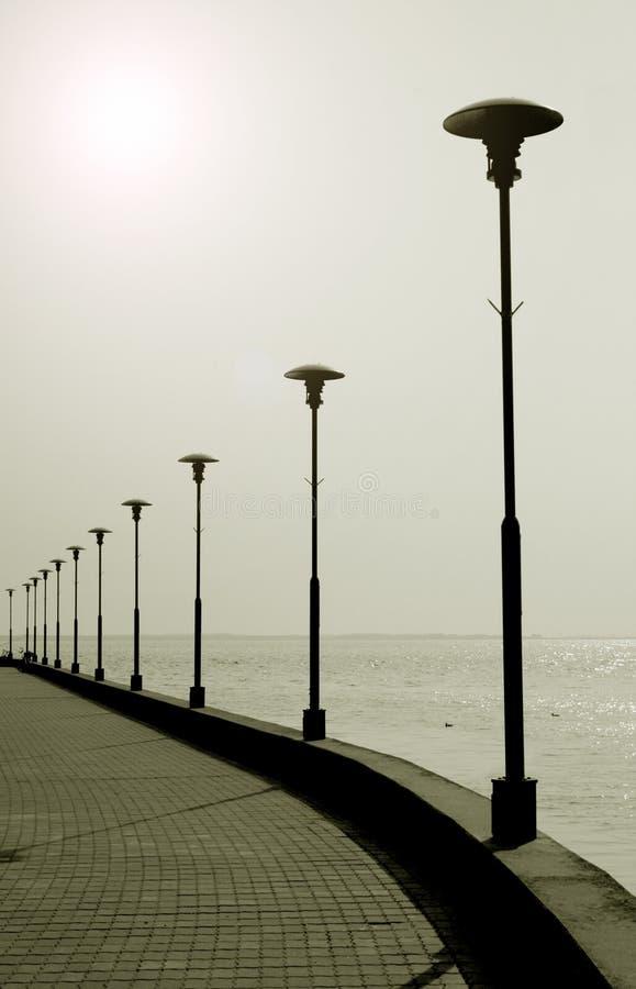 La 'promenade' portuaria Jodkrante Neringa Lituania imagen de archivo