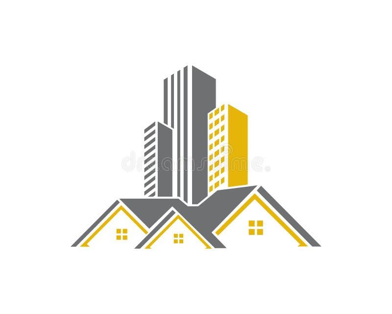 La propriété de Real Estate et le logo de construction conçoivent pour le signe d'entreprise d'affaires illustration de vecteur