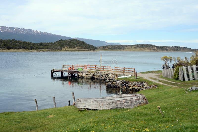 La proprietà di Harberton è la più vecchia azienda agricola di Tierra del Fuego e di un monumento storico importante della region immagini stock libere da diritti