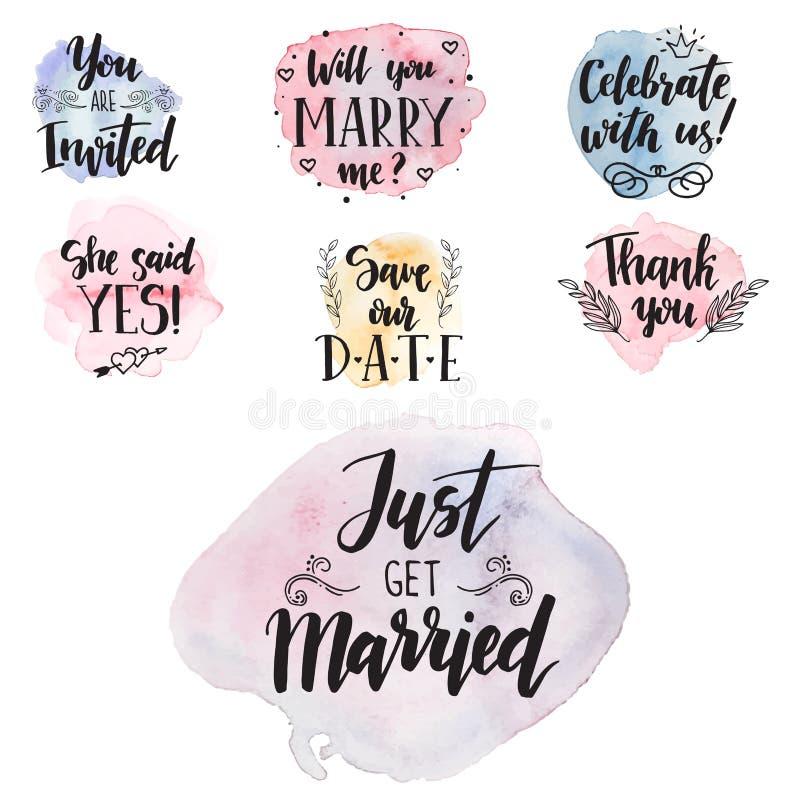 La propuesta de matrimonio del día de boda expresa la etiqueta de saludo dibujada mano del amor de la caligrafía de las tarjetas  libre illustration