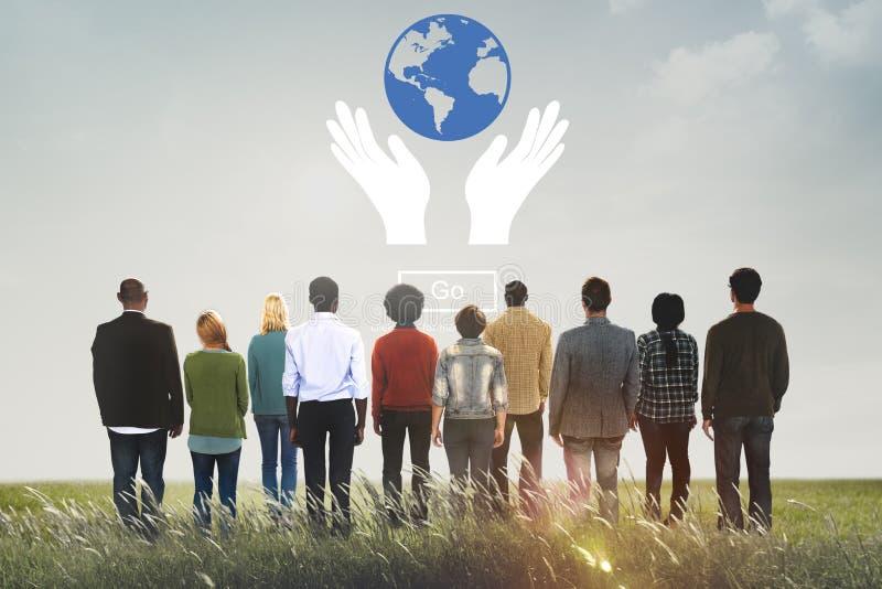 La prosperidad global protege concepto del cuidado de la tierra imagenes de archivo