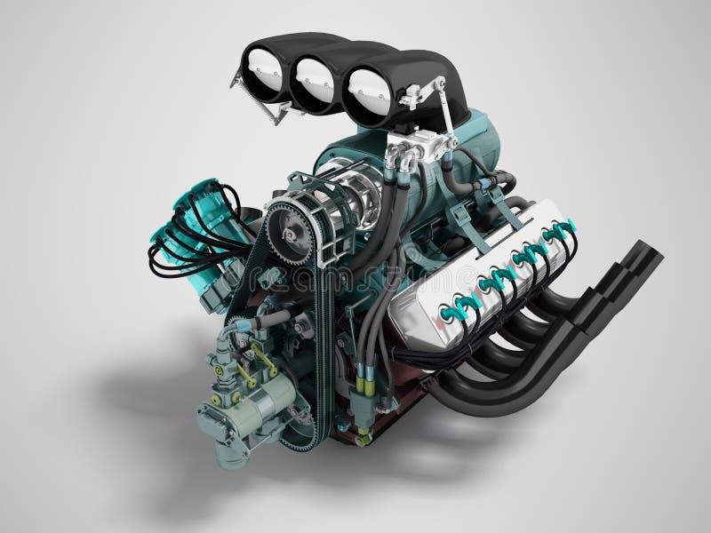 La prospettiva anteriore blu 3d del nero del motore di turbo dell'automobile rende su fondo grigio con ombra illustrazione vettoriale