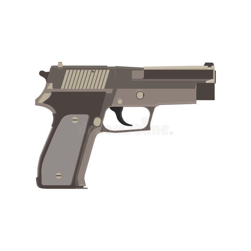 La protección de la bala y de la munición de la seguridad del fuego del vector del arma de la pistola metal la historieta Brazo y libre illustration