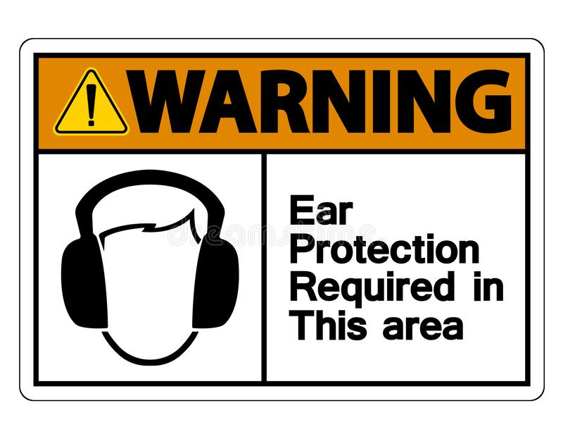 la protection auditive de avertissement de symbole exigée dans ce symbole de secteur se connectent le fond blanc, illustration de illustration libre de droits