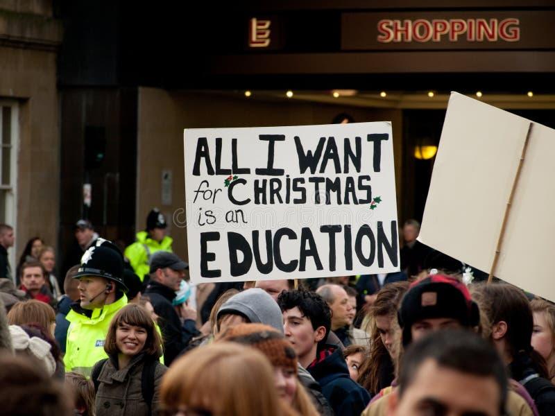 La protesta contra la educación corta adentro Reino Unido foto de archivo