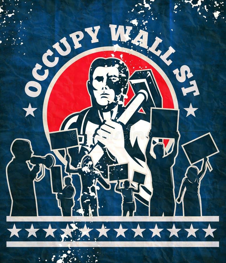 La protesta del protestatore del martello dell'operaio occupa Wall Street royalty illustrazione gratis