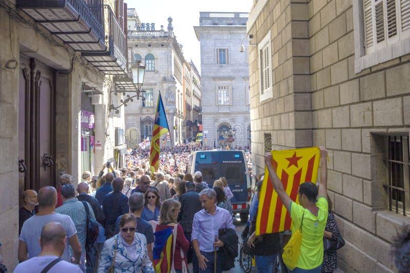 La protesta raduna la libertà e l'indipendenza Spagna Catalogna Barcellona fotografia stock