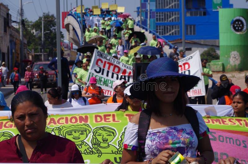 La protestation de jour de travail march Tegucigalpa le Honduras en mai 2019 8 photographie stock