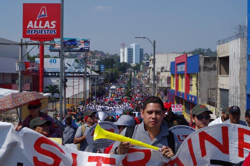 La protestation de jour de travail march Tegucigalpa le Honduras en mai 2019 5 photographie stock libre de droits