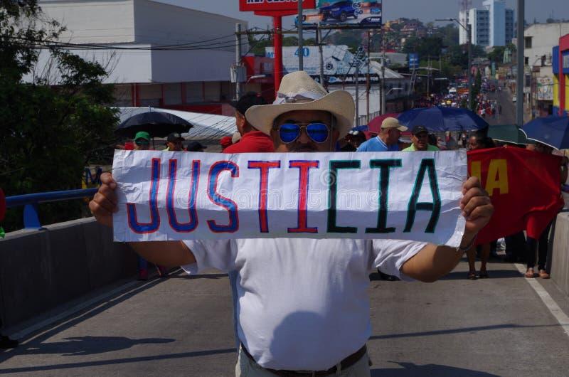 La protestation de jour de travail march Tegucigalpa le Honduras en mai 2019 4 images libres de droits