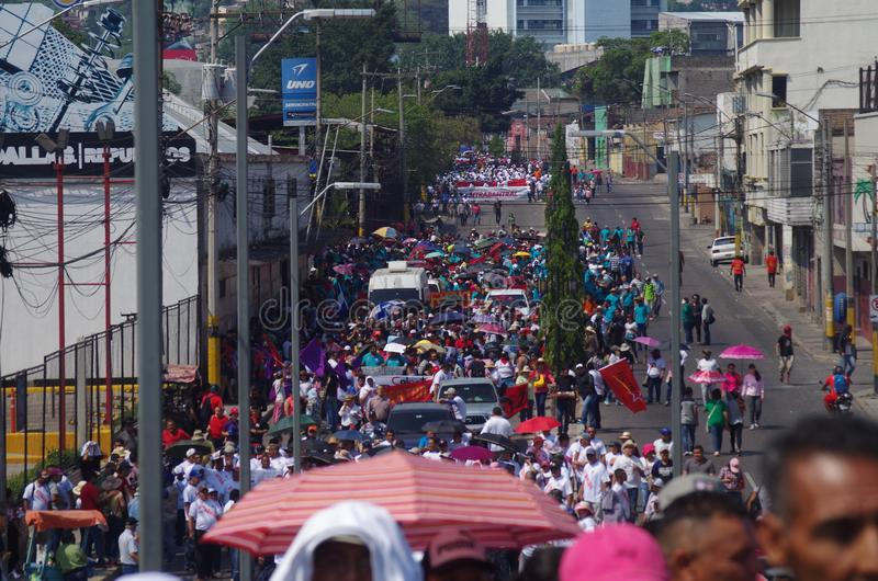La protestation de jour de travail march Tegucigalpa le Honduras en mai 2019 3 image libre de droits