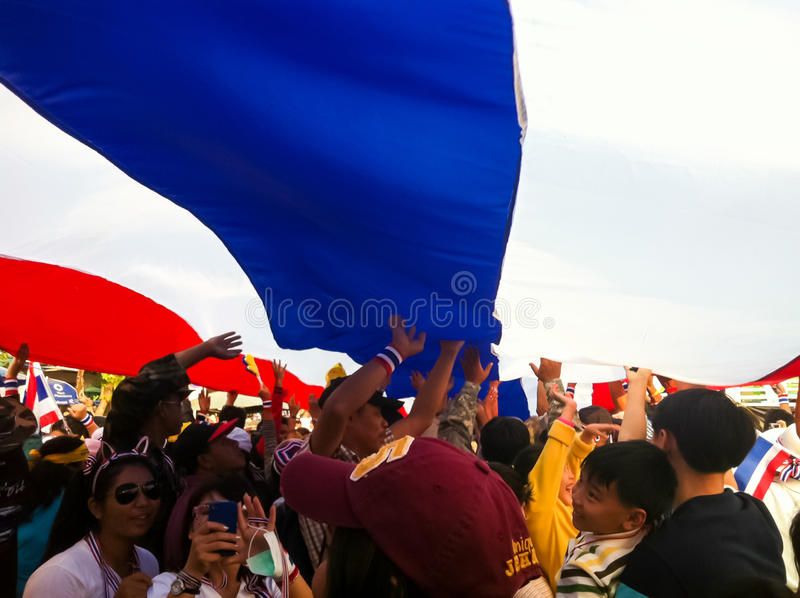 La protestation de la Thaïlande contre la corruption gouvernementale. photo stock
