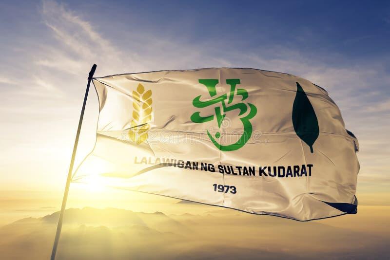 La provincia de Sultan Kudarat de Filipinas señala la tela del paño por medio de una bandera de la materia textil que agita en la stock de ilustración