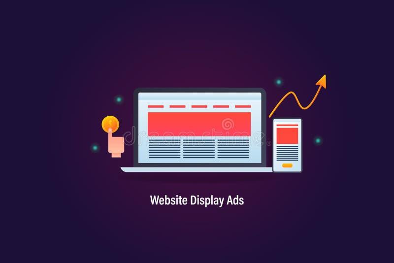 La pubblicità del sito Web che visualizza sul computer portatile e sul dispositivo mobile, paga per concetto di clic, con la cres illustrazione di stock