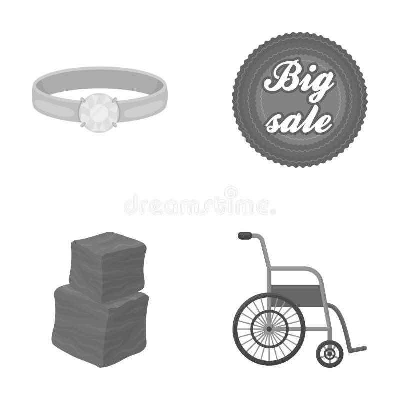 La publicidad, la medicina, el comercio y el otro icono del web en estilo monocromático hospital, conveniencia, negocio, iconos e ilustración del vector