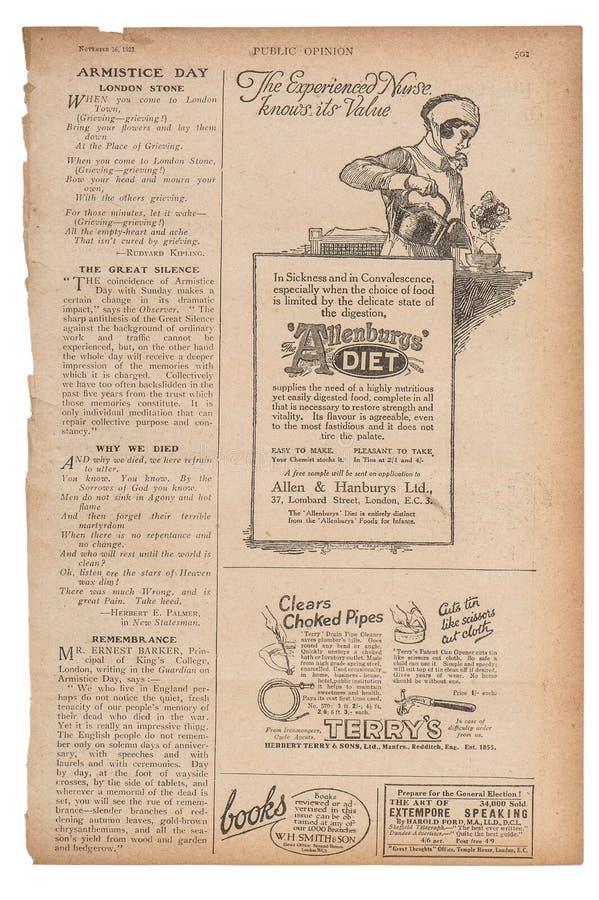 La publicité anglaise des textes de page de journal décrit le magazin de vintage illustration stock
