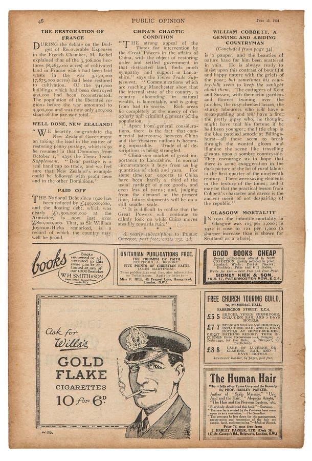 La publicité anglaise des textes de page de journal décrit le magazin de vintage illustration libre de droits