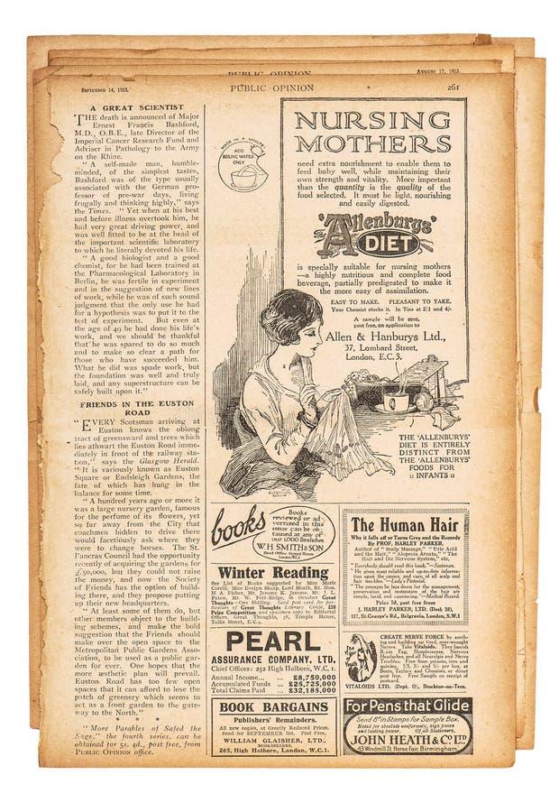 La publicité anglaise utilisée des textes de page de papier décrit le newspa de vintage images libres de droits
