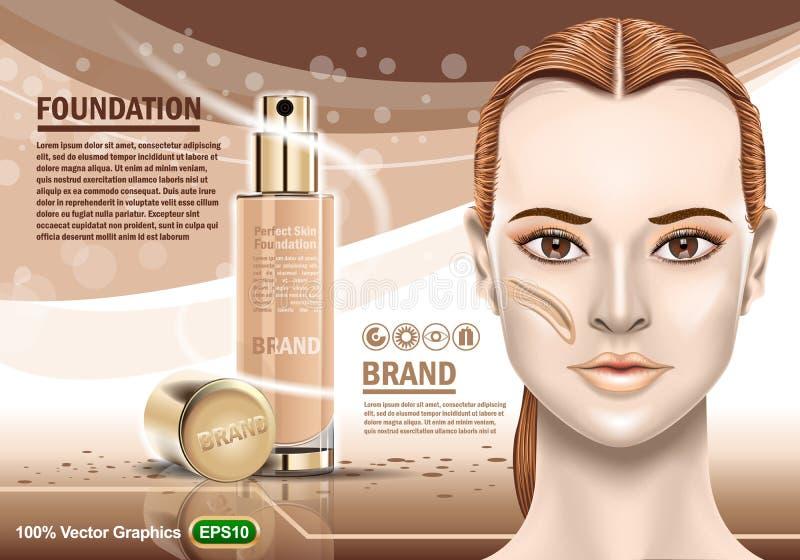 La publicité d'hydrater cosmétique et de la gentille fille montrant la peau saine parfaite Calibre réaliste d'image illustration stock