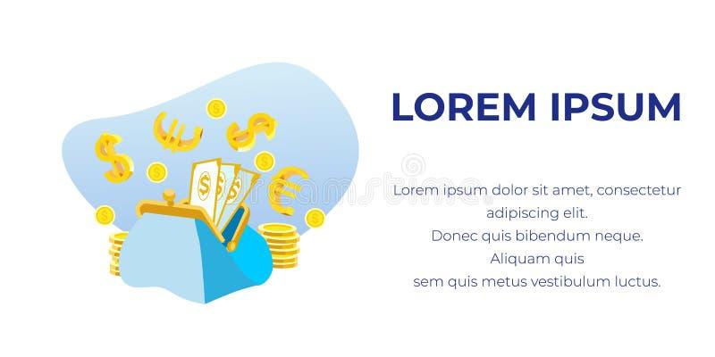 La publicité de la bannière avec le texte, l'argent liquide et le portefeuille ouvert illustration libre de droits
