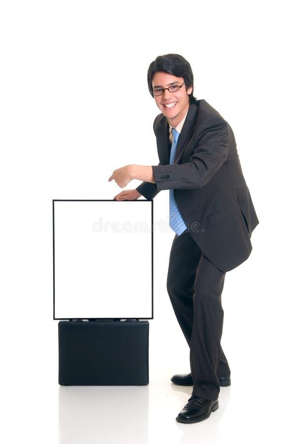 La publicité de l'homme d'affaires images stock